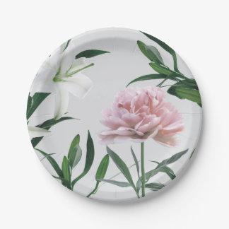 Rosa Pfingstrosen-und weiße Lilie BlumenPappteller Pappteller