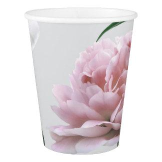 Rosa Pfingstrosen-und weiße Lilie Pappbecher