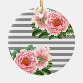 Rosa Pfingstrosengraulinien Keramik Ornament