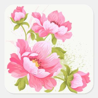 Rosa Pfingstrosenwatercolors-Blumen-mit Quadratischer Aufkleber