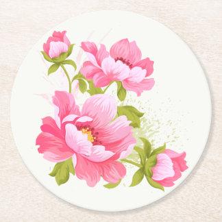Rosa Pfingstrosewatercolor-Blumen-Hochzeits-mit Runder Pappuntersetzer