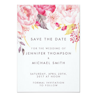 Rosa PfingstroseWatercolor Blumenwedding Save the Karte