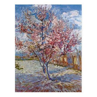 Rosa Pfirsich-Baum in der Blüte durch Van Gogh Postkarte