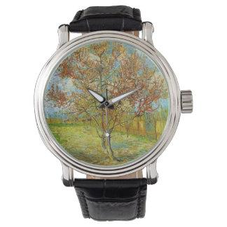 Rosa Pfirsich-Baum Van Gogh in der Blüte, schöne Armbanduhr