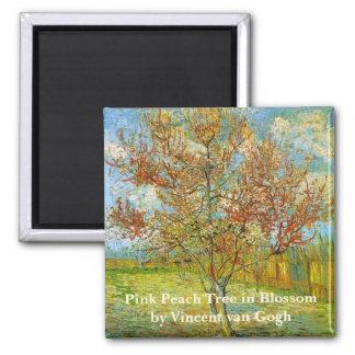 Rosa Pfirsich-Baum Van Gogh in der Blüte, schöne Quadratischer Magnet