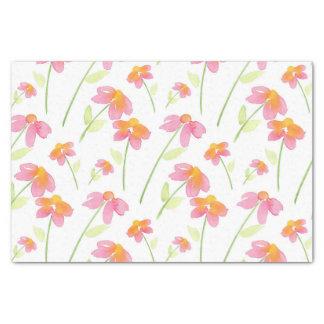 Rosa Pfirsich-Gelbwatercolor-Blumen Seidenpapier