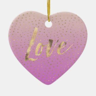 Rosa Pfirsich-GoldOmbre Confetti-Punkte Keramik Ornament