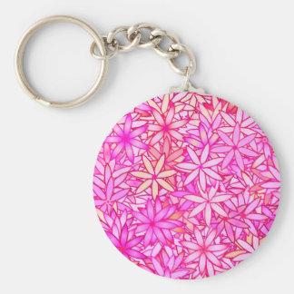 Rosa-, Pfirsich-, Orchideen- und Korallen-Blumen Schlüsselanhänger