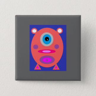 Rosa Piggy Quadratischer Button 5,1 Cm