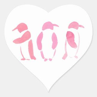 Rosa Pinguin-Trio Herz-Aufkleber