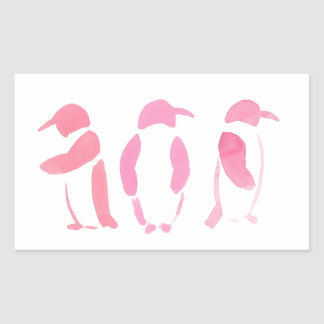 Rosa Pinguin-Trio Rechteckiger Aufkleber