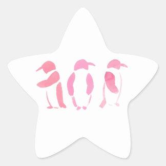 Rosa Pinguin-Trio Stern-Aufkleber