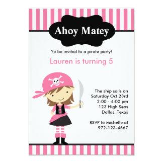 Rosa Piraten-Mädchen-Geburtstags-Einladungen