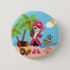 Rosa Piraten-Mädchen-Geburtstags-Party Runder Button 5,1 Cm