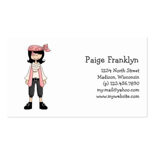 Rosa Piraten · Piraten-Mädchen #10 Visitenkarten Vorlage