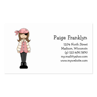 Rosa Piraten · Piraten-Mädchen 4 Visitenkarten
