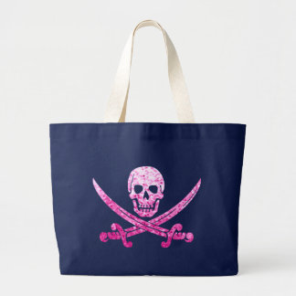 Rosa Piraten-Totenkopf mit gekreuzter Jumbo Stoffbeutel