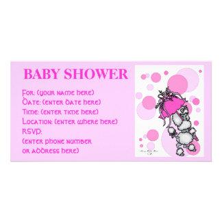 Rosa Polk ein Punkt-Pudel-Babyparty Photokartenvorlagen