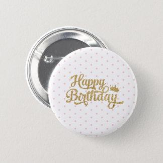 Rosa Polka-Punkt-alles- Gute zum GeburtstagButton Runder Button 5,7 Cm