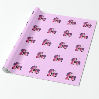 Rosa Ponyillustration der Fantasie Geschenkpapier