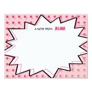 Rosa Pop-Kunst-Comic-Buch inspiriertes flaches 10,8 X 14 Cm Einladungskarte