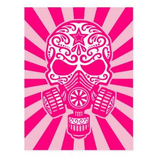 Rosa Posten-apokalyptischer Zuckerschädel Postkarte