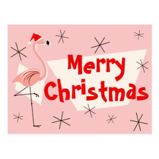 Rosa Postkarte froher Weihnachten Flamingo-Sankt
