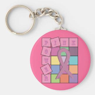 Rosa Power-Brustkrebs-Bewusstseins-Band Keychain Standard Runder Schlüsselanhänger