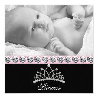 Rosa Prinzessin Baby Birth Announcements Individuelle Ankündigungskarte