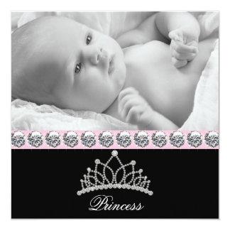 Rosa Prinzessin Baby Birth Announcements Quadratische 13,3 Cm Einladungskarte