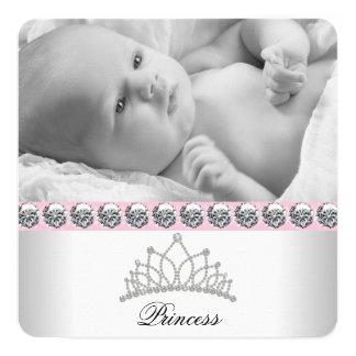 Rosa Prinzessin Birth Announcements Quadratische 13,3 Cm Einladungskarte