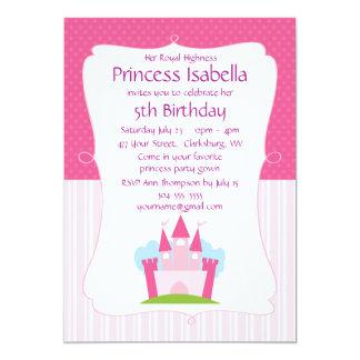Rosa Prinzessin Castle Birthday 12,7 X 17,8 Cm Einladungskarte