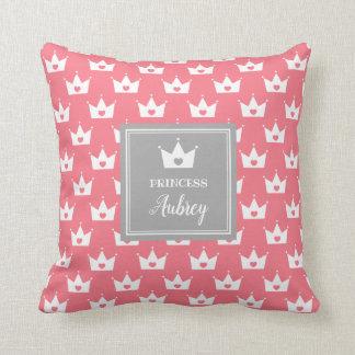 Rosa Prinzessin Crown Pattern - Kalligraphie-Name Kissen