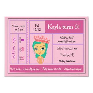 Rosa Prinzessin Movie Ticket Invitation Karte