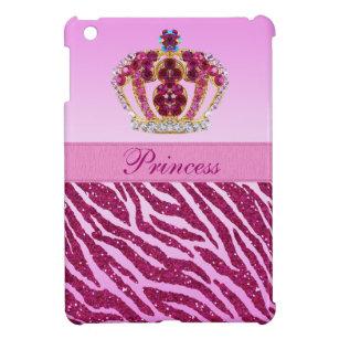 Rosa Prinzessin Printed Crown u. Zebra-Glitzer iPad Mini Hülle