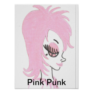 Rosa Punkkunst-Plakat