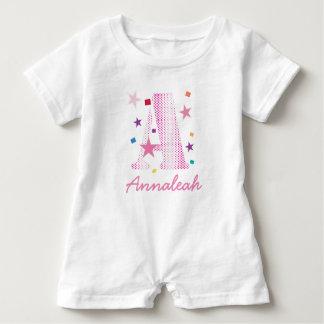 rosa Punkt pattern.ai des Feierbuchstaben A Baby Strampler