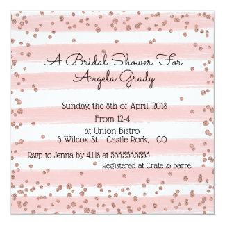 Rosa Punkte und Streifen-Brautparty-Einladung Karte