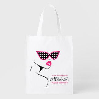 Rosa punktierte Sonnenbrille Haar und Wiederverwendbare Einkaufstasche