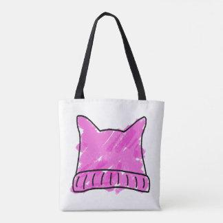Rosa Pussy-Hut-Gekritzel-Kunst-Tasche Tasche
