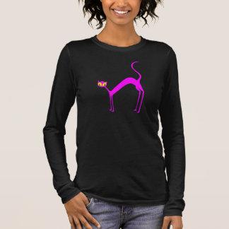 Rosa Pussy-Katze Langarm T-Shirt