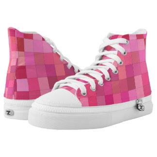 Rosa quadratisches Mosaik Hoch-geschnittene Sneaker