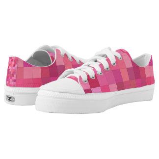 Rosa quadratisches Mosaik Niedrig-geschnittene Sneaker