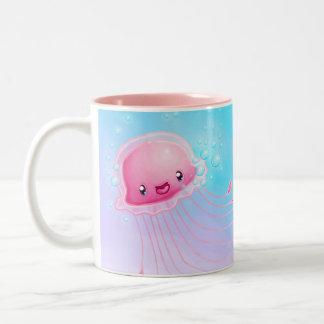 Rosa Quallen Zweifarbige Tasse