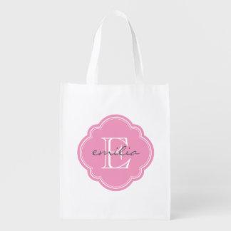 Rosa Quatrefoil Gewohnheits-Monogramm Wiederverwendbare Einkaufstasche