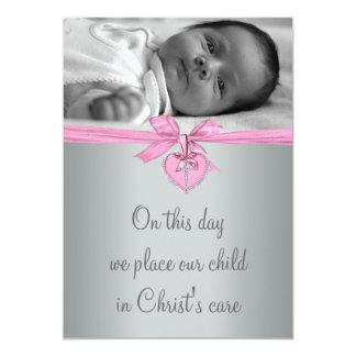 Rosa Querbaby-Mädchen-Foto-Taufe 12,7 X 17,8 Cm Einladungskarte