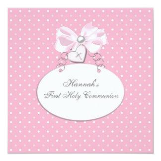 Rosa Quermädchen-erste Kommunion Quadratische 13,3 Cm Einladungskarte