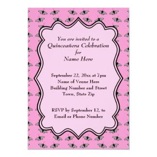 Rosa Quinceanera Entwurf mit Schmetterlings-Muster 12,7 X 17,8 Cm Einladungskarte