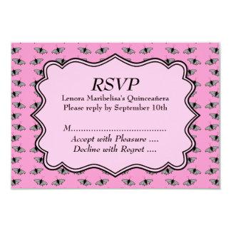 Rosa Quinceanera Entwurf mit Schmetterlings-Muster 8,9 X 12,7 Cm Einladungskarte