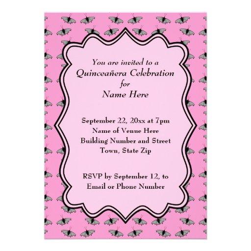 Rosa Quinceanera Entwurf mit Schmetterlings-Muster Individuelle Einladungskarte